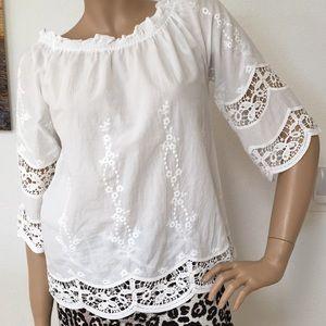 RD Koko White Cotton Lace Peasant Blouse Top S
